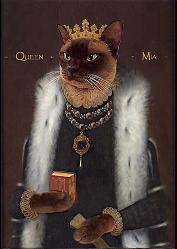 Royal Portrait of your pet in Elizabeth I. attire on gallery wrap