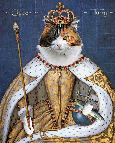 Royal Portrait of your pet in Elizabeth I. attire from photos