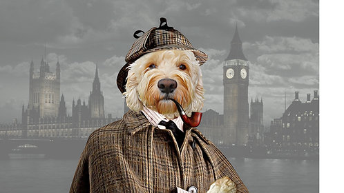 Portrait of Your/Friends/Family Pet in Sherlock Holmes attire