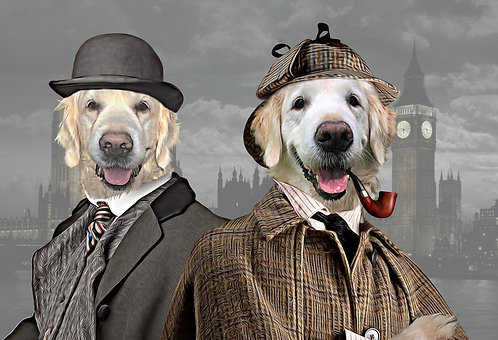 Portrait of Your/Friends/Family Pet as Sherlock Holmes & Watson
