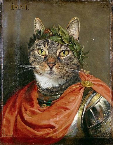 Historic Portrait of Your Pet in Julius Caesar attire