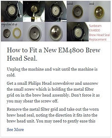 How to Fit a New Sunbeam EM4800 or Breville 800ES Brew Head Seal