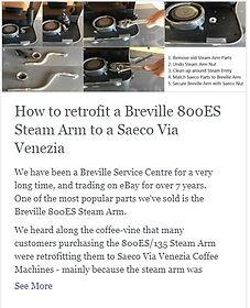 How to retrofit a Breville 800ES Steam Arm to a Saeco Via Venezia