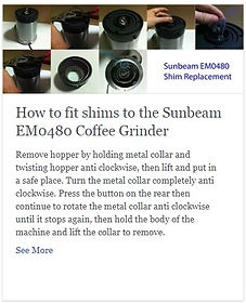 How to fit shims to the Sunbeam EM0480 Coffee Grinder