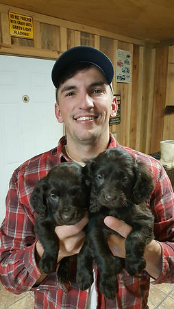 Chase H. with Boykin Puppies