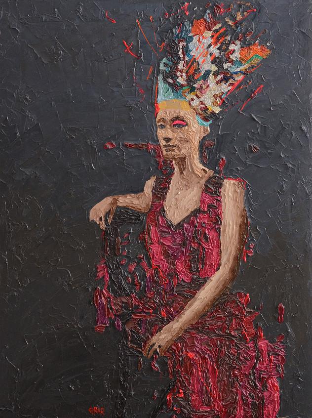 "Oil on canvas  39"" x 30"" inch 100 x 75 cm"