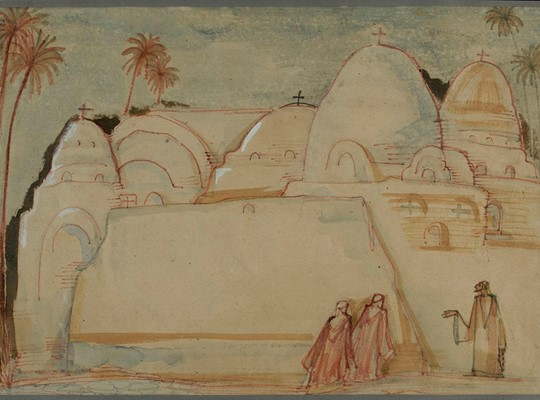 Ragheb Ayad The Monastery Inks and pencils on paper  67x45 cm Not signed