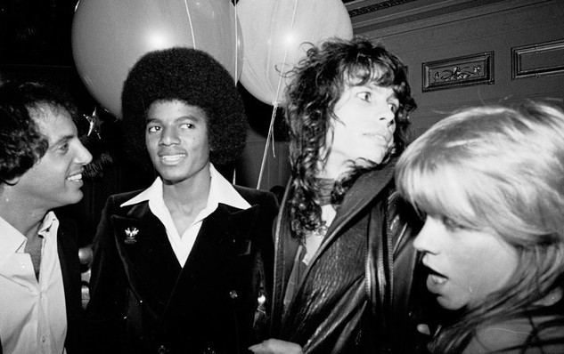 Steve Rubell, Michael Jackson, Steven Tyler, and Cherie Currie, 1977  Photo: Getty Images