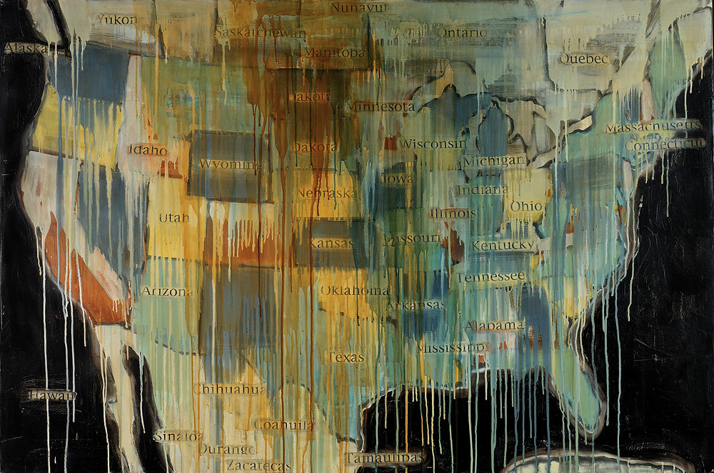 Jaune Quick-To-See Smith, State Names, 2000, oil, collage and mixed media on canvas, Smithsonian American Art Museum, Gift of Elizabeth Ann Dugan and museum purchase, 2004.28