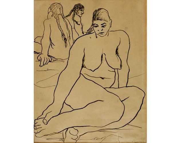 """Abdel Hadi El Gazzar (1925 – 1965) """"NUDE""""  1950 Inks on paper 33 x 25 cm  Signed and dated"""