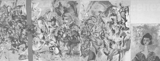 Aqualung, 1991–92, oil on canvas, 81¼ × 199¼ inches (three panels).