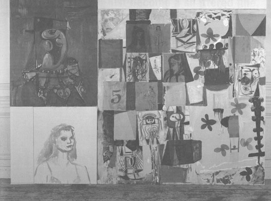 Portrait Collage Combination, 1990, oil, paper, charcoal and pastel on canvas, 71 × 93 inches.