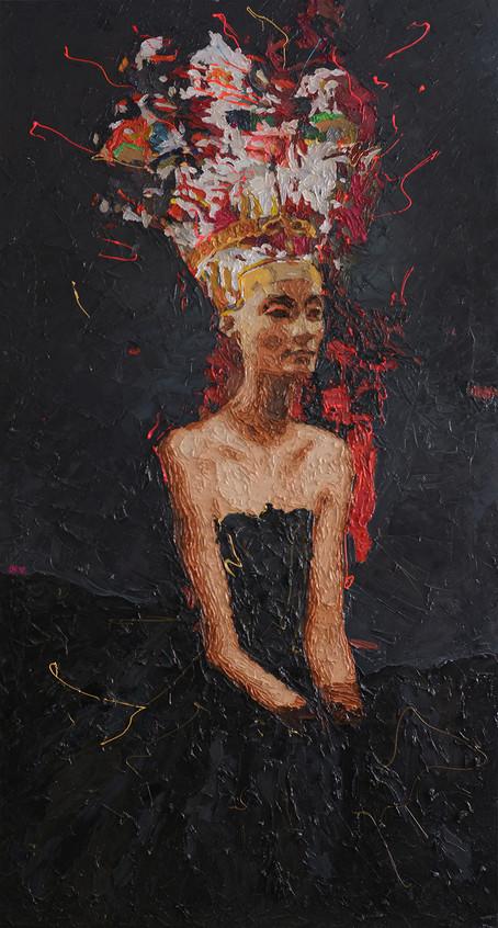 "Oil on canvas  73"" x 39"" inch 185 x 100 cm"