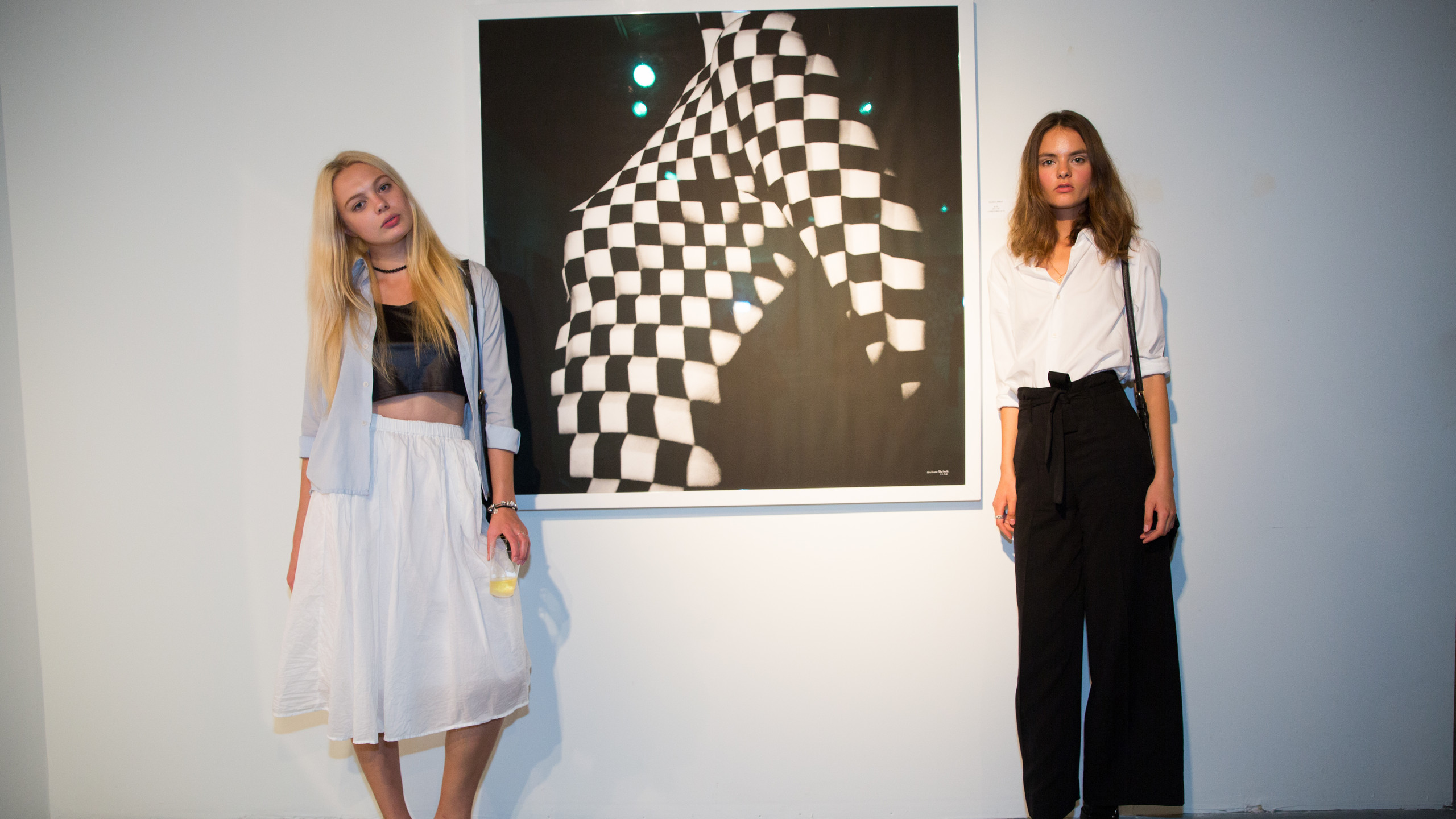 Guests in front of work of Giuliano Bekor