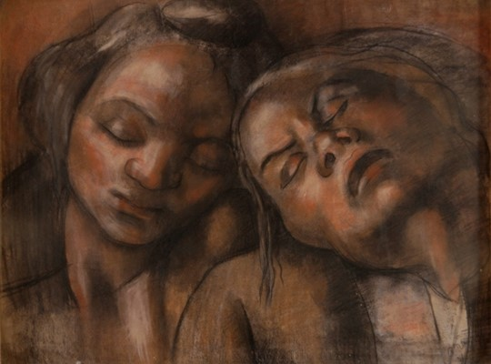 """Emy Nemr   """"Agony"""" 1931 Pencils on paper 63x49 Cm Signed and dated"""