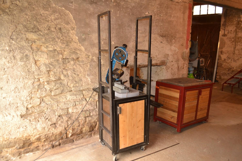 meuble pour scie roulettes