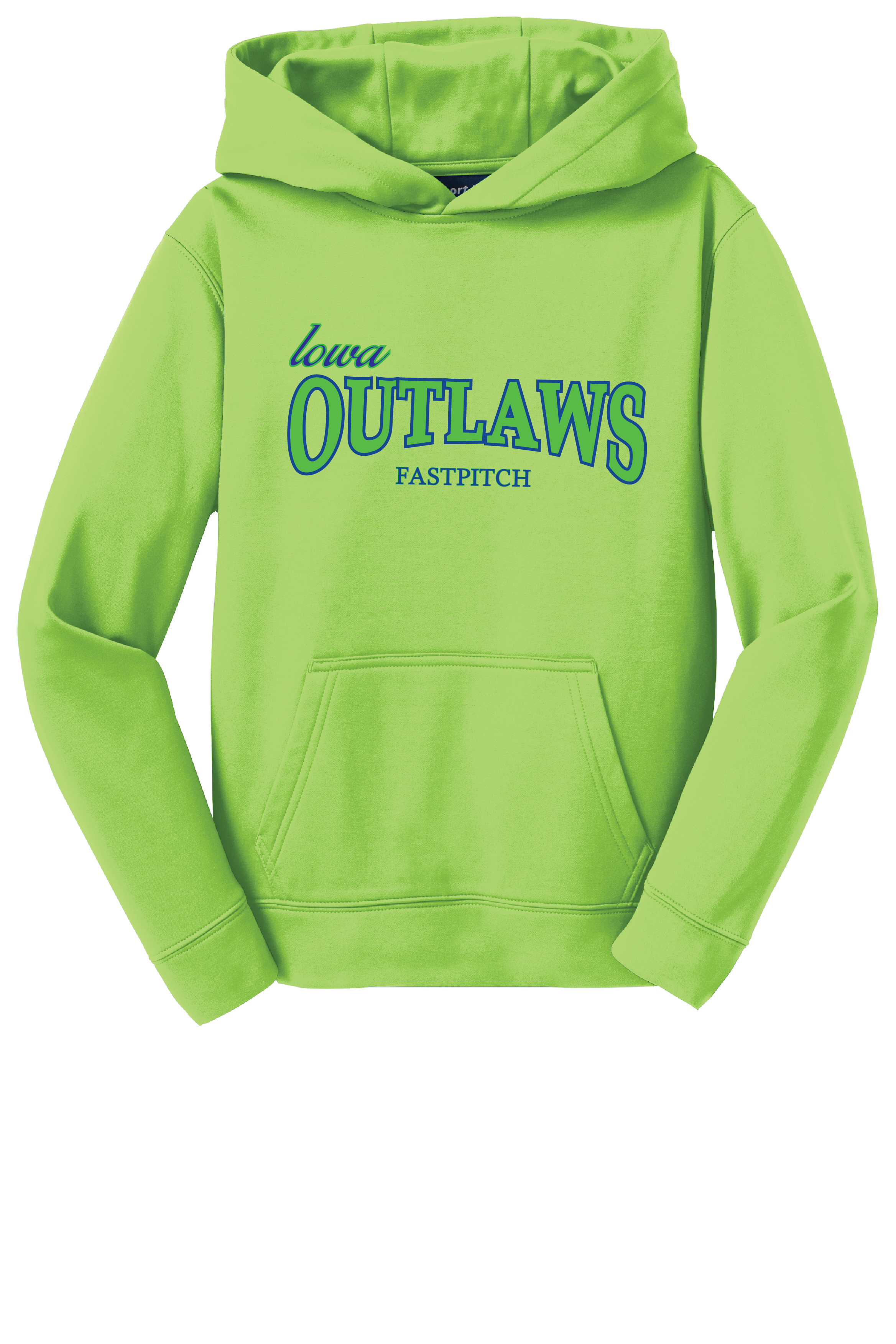 Iowa OUTLAWS Fastpitch YOUTH PERFORMANCE HOODIE -NEON GREEN