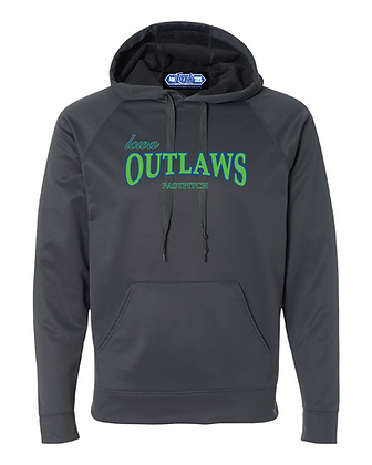 Iowa OUTLAWS Fastpitch PERFORMANCE HOODIE - CHARCOAL