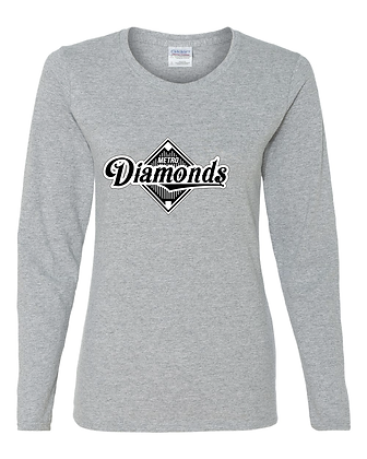 Metro Diamonds Womens Long Sleeve T - Sport Grey