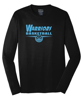 "Warriors Performance Long Sleeve Tee ""Camp Logo"" - BLACK"