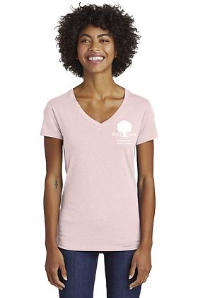 Four Oaks Blended Jersey V-Neck- Heather Rose Quartz