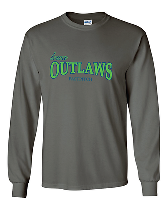 Iowa OUTLAWS Fastpitch - LONG SLEEVE - CHARCOAL