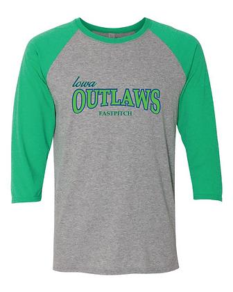 Iowa OUTLAWS Fastpitch 3/4 Triblend Shirt