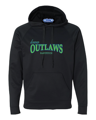 Iowa OUTLAWS Fastpitch PERFORMANCE HOODIE - BLACK