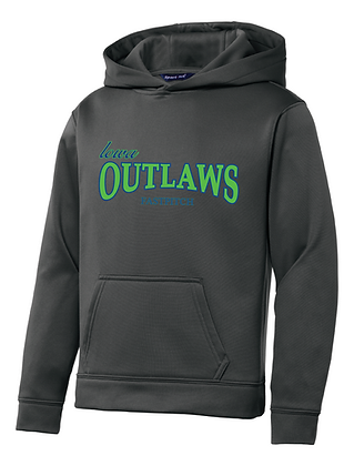 Iowa OUTLAWS Fastpitch YOUTH PERFORMANCE HOODIE -CHARCOAL