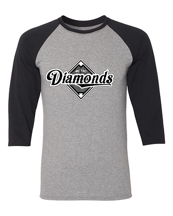 Metro Diamonds 3/4 Sleeve TriBlend Baseball Shirt
