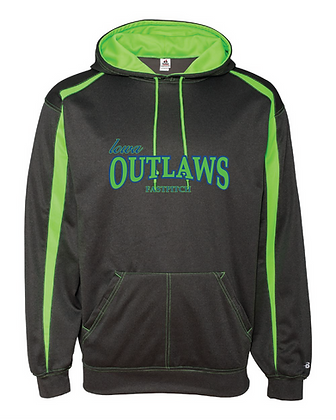Iowa OUTLAWS Fastpitch Fusion Performance Hoodie Carbon/Lime