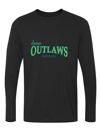 Iowa OUTLAWS Fastpitch - YOUTH PERFORMANCE LONG SLEEVE - BLACK