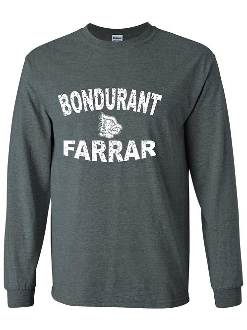 BF Distressed Logo Long Sleeve Tee - Dark Grey