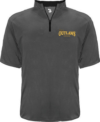Iowa Outlaws Grey 1/4 Zip T-Shirt - Lightweight