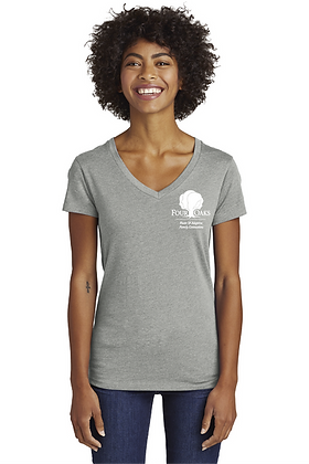 Four Oaks Blended Jersey V-Neck- Heather Grey