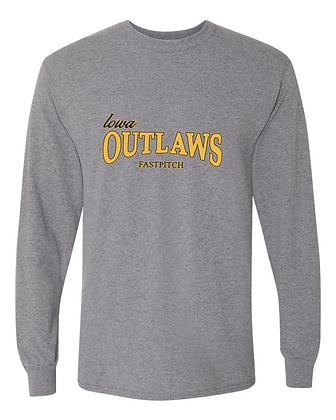 Iowa Outlaws Grey - YOUTH LONG SLEEVE - Grey