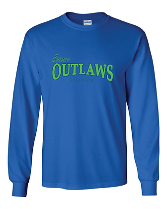 Iowa OUTLAWS Fastpitch - YOUTH LONG SLEEVE - ROYAL