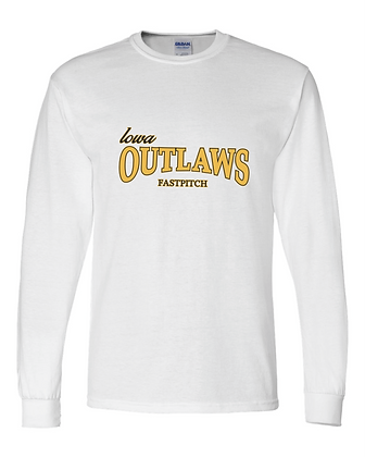 Iowa Outlaws Grey - YOUTH LONG SLEEVE - White