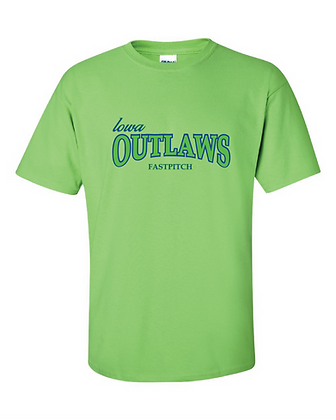 Iowa OUTLAWS Fastpitch YOUTH T-Shirt Lime Green