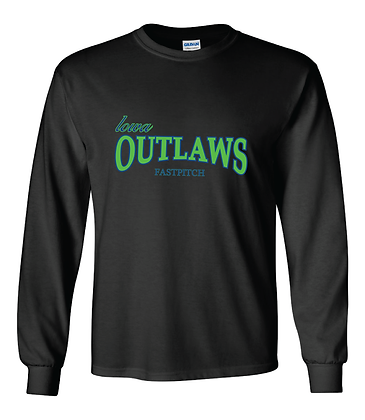 Iowa OUTLAWS Fastpitch - YOUTH LONG SLEEVE -BLACK