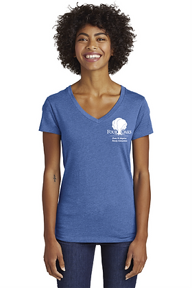 Four Oaks Blended Jersey V-Neck- Heather Rich Royal