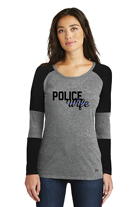 Back the Blue Police Wife Baseball LS Tee