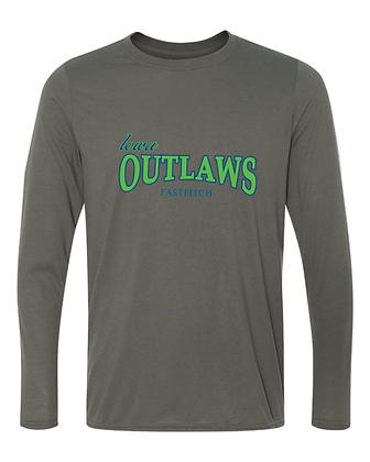 Iowa OUTLAWS Fastpitch - YOUTH PERFORMANCE LONG SLEEVE - CHARCOAL