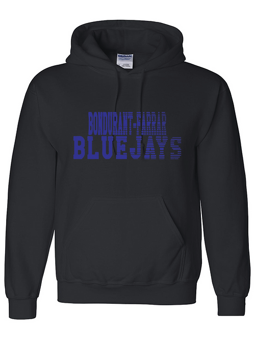 Bluejays Hoodie - Fade Out Logo - Black