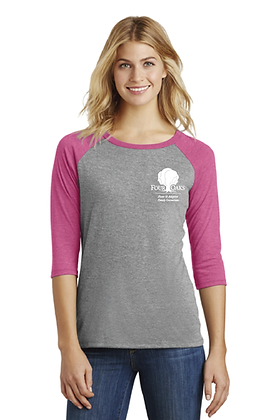 Four Oaks 3/4 Sleeve Raglan - Fuchisia/Grey