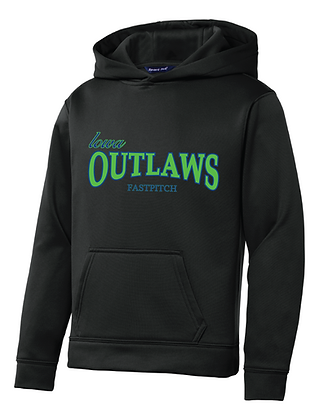 Iowa OUTLAWS Fastpitch YOUTH PERFORMANCE HOODIE -BLACK