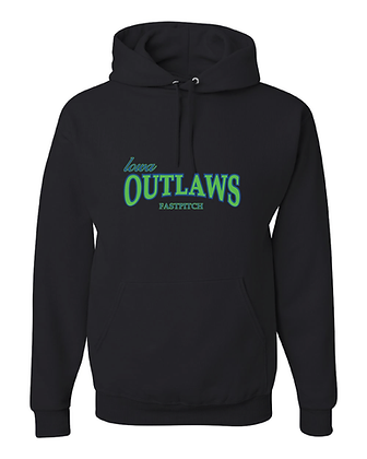 Iowa OUTLAWS Fastpitch HOODIE 50/50 - BLACK