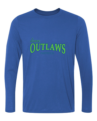 Iowa OUTLAWS Fastpitch - PERFORMANCE LONG SLEEVE -ROYAL BLUE