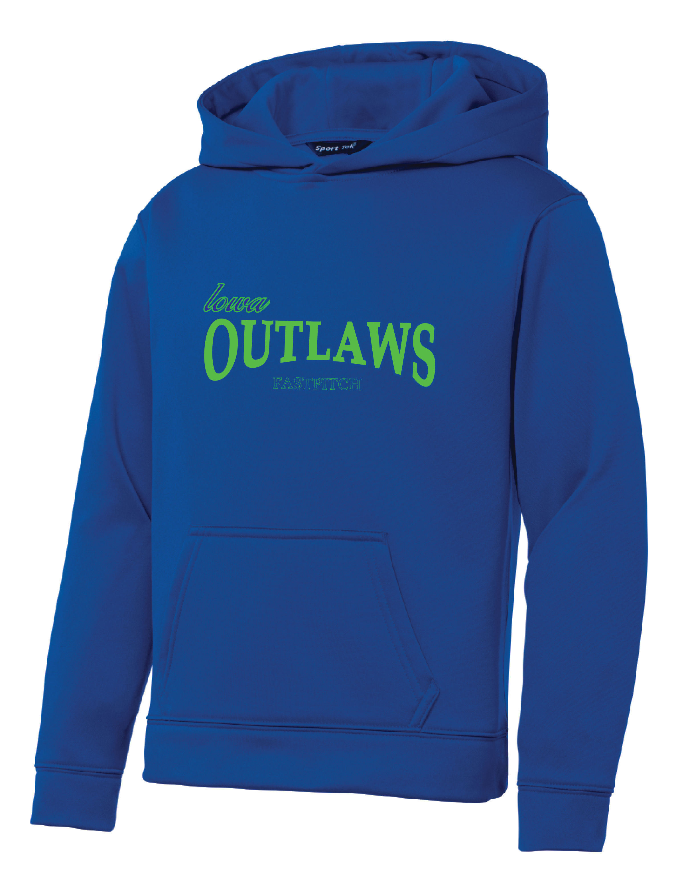 Iowa OUTLAWS Fastpitch YOUTH PERFORMANCE HOODIE - ROYAL