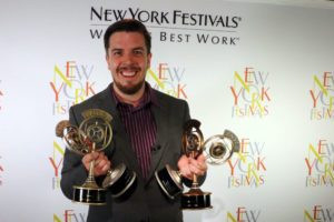 Josh Couch receiving the NYF radio awards
